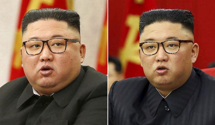 Kim Jong-un virðist hafa tekið sig á. Myndin vinstra megin var tekin í febrúar en sú síðari í þessari viku.