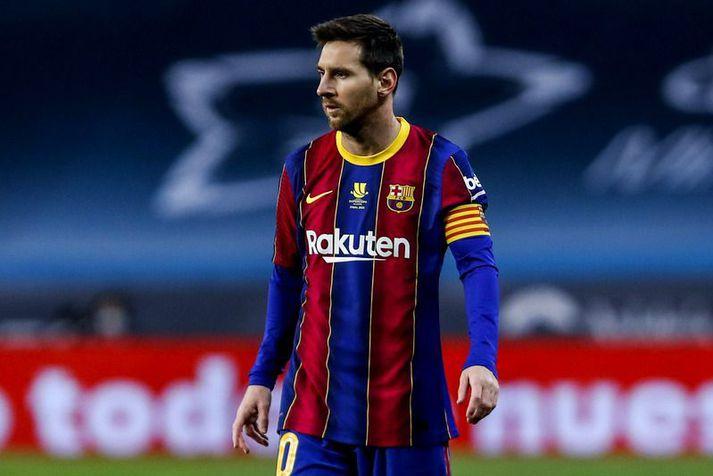 Lionel Messi í leiknum sögulega á milli Barcelona og Athletic Bilbao á sunnudagskvöldið.