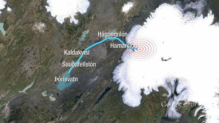 Kortið sýnir líklegan gosstað og leið hlaupsins þann 13. júlí árið 2011 um Hamarslón, Hágöngulón og niður til Þórisvatns.