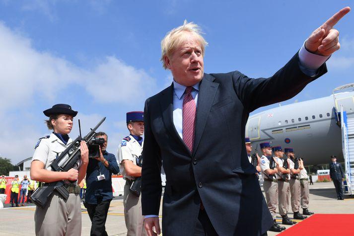 Boris Johnson við komuna á fund G7 ríkjanna.