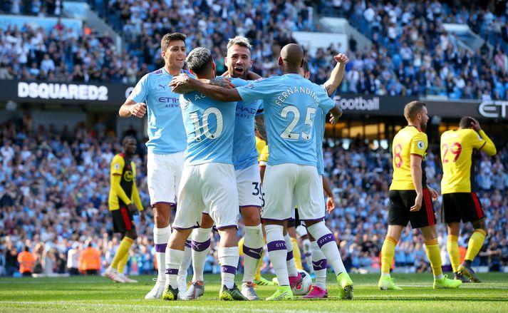 Manchester City fagnar marki í dag.