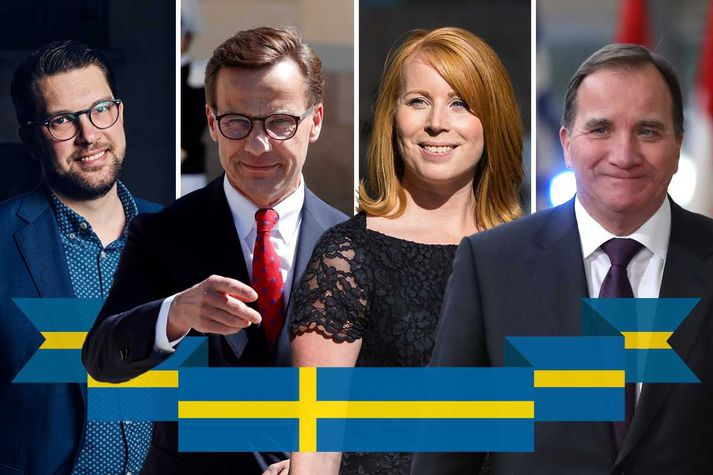 Jimmie Åkesson, leiðtogi Svíþjóðardemókrata, Ulf Kristersson, leiðtogi Moderaterna, Annie Lööf, leiðtogi Miðflokksins og Stefan Löfven, leiðtogi Jafnaðarmanna og forsætisráðherra Svíþjóðar.