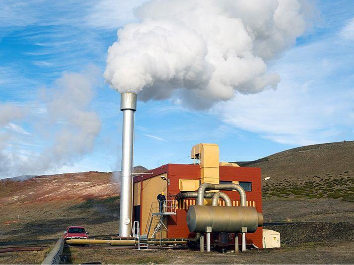 Green Energy Geothermal vinnur að endurnýjun vélbúnaðar í gömlu gufustöðinni í Bjarnarflagi. Framkvæmdir hófust í mars. Ljósmynd/Landsvirkjun