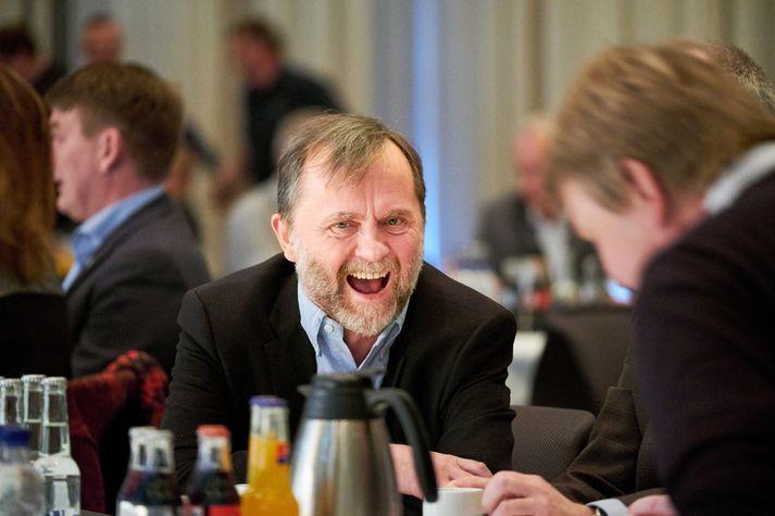 Kristján Loftsson sést hér kampakátur á ársfundi Samtaka fyrirtækja í sjávarútvegi.
