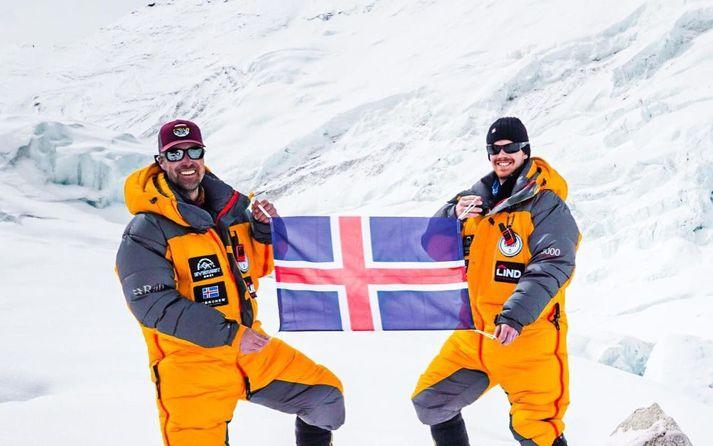 Heimir og Sigurður náðu toppi Everest-fjalls í gær.