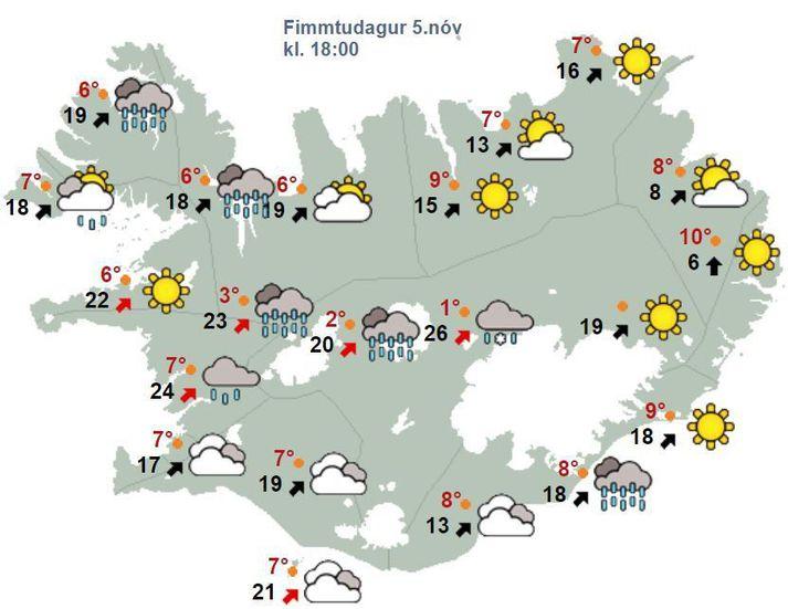 Svona verður staðan klukkan 18 í dag samkvæmt spá Veðurstofunnar.