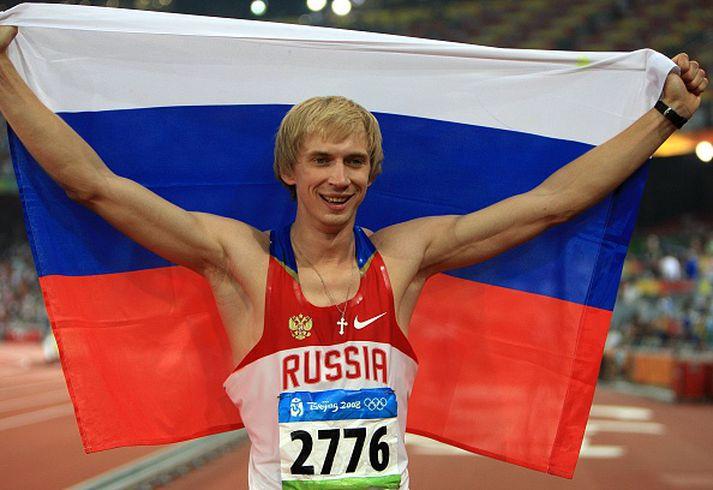 Andrei Silnov fagnar í Peking 2008