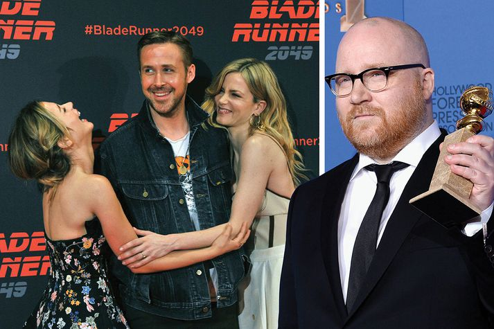 Ryan Gosling, aðalstjarnan í myndinni, ásamt leikkonunum Ana de Armas og Mackenzie Davis