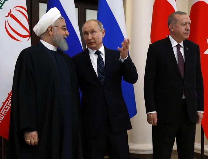 Hassan Rouhani, forseti Íran, Vladimir Putin, forseti Rússlands og Racep Tayyip Erdogan, forseti Tyrklands.