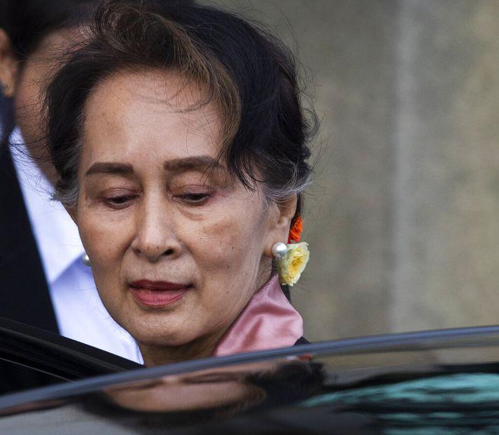 Aung San Suu Kyi, ríkisráðgjafi Mjanmars og handhafi friðarverðlauna Nóbels.