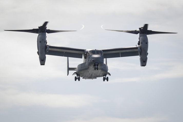 Osprey-vélarnar eru að mestu notaðar til að flytja menn á milli staða en Hercules-vélunum var flogið til landsins með þeim og eru notaðar til stuðnings við Osprey-vélarnar.