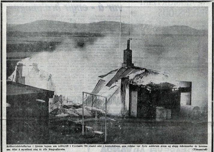 Mynd sem sjá mátti á forsíðu Tímans fljótlega í kjölfar hins voveiflega atburðar.