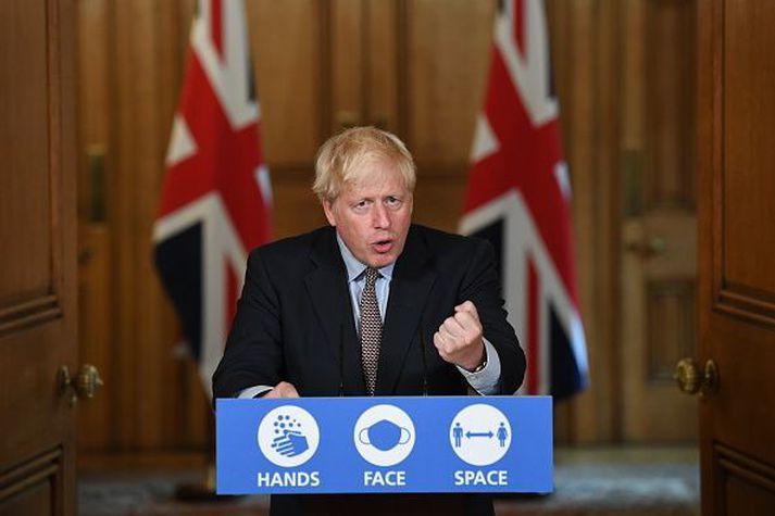 Boris Johnson á upplýsingafundi yfirvalda í Bretlandi fyrr í vikunni.