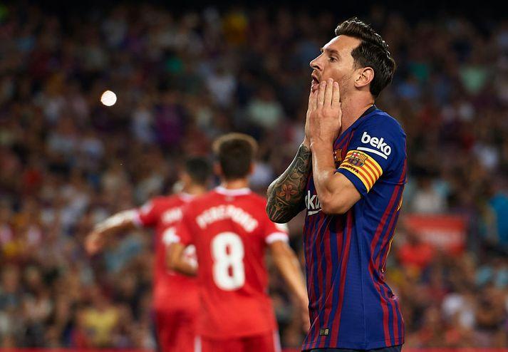 Messi var fjarverandi í liði Börsunga og munaði um minna