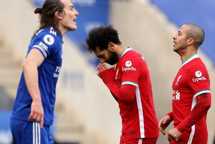 Mohamed Salah fagnar marki sínu á móti Leicester City í ensku úrvalsdeildinni um helgina. Salah kom Liverpool í 1-0 en Leicester vann leikinn 3-1.