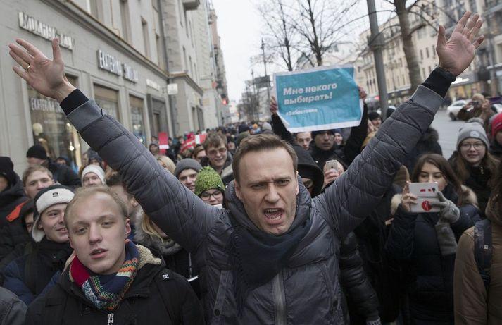 Alexei Navalní í mótmælum í Moskvu árið 2018.