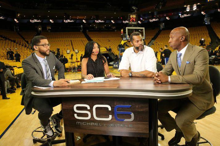 Hill (2. t.v.) ásamt félögum sínum í SportsCenter á ESPN.