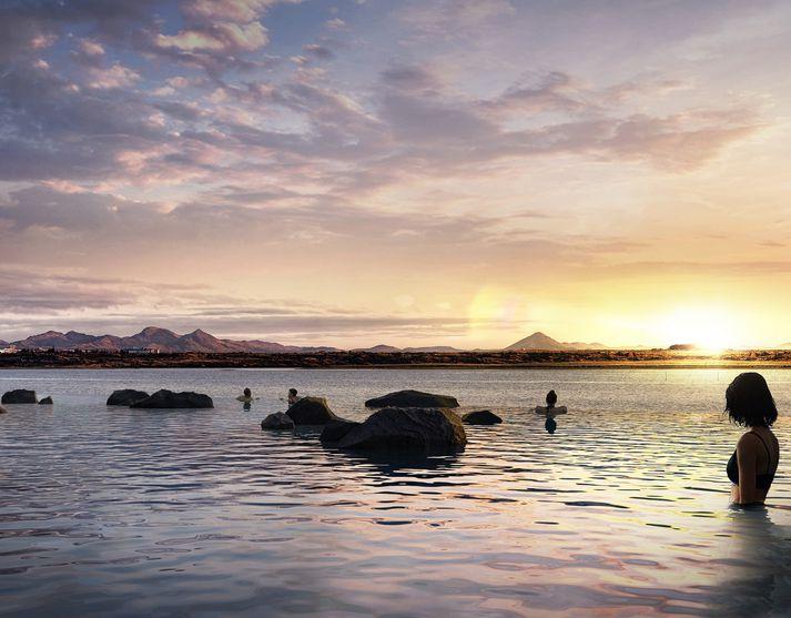 Svona er vonast til að baðlónið í Kársnesi muni líta út.