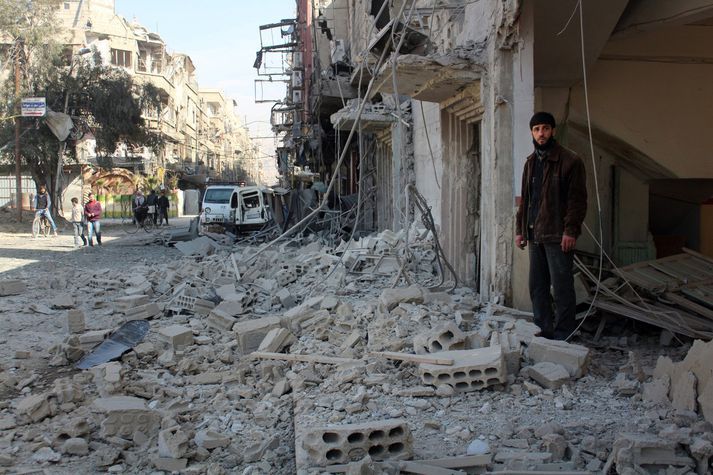 Stór hluti bygginga í Austur-Ghouta hefur gereyðilagst í átökunum.