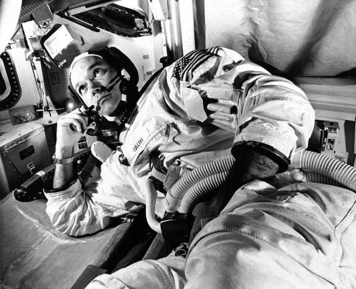 Collins við æfingar á Canaveral-höfða á Flórída 19. júní árið 1969. Rúmum mánuði síðar stýrði hann stjórnhylki Apollo 11-leiðangursins á meðan félagar hans tveir urðu fyrstu mennirnir til þess að lenda á tunglinu.