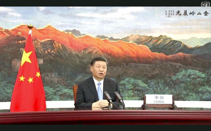 Xi Jinping, forseti Kína, sendi allsherjarþinginu myndbandsávarp. Þar tilkynnti hann um metnaðarfyllri loftslagsmarkmið Kínverja.