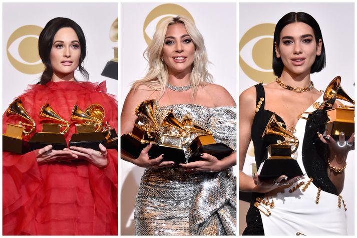 Kacey Musgraves, Lady Gaga og Dua Lipa voru á meðal helstu verðlaunahafa gærkvöldsins.