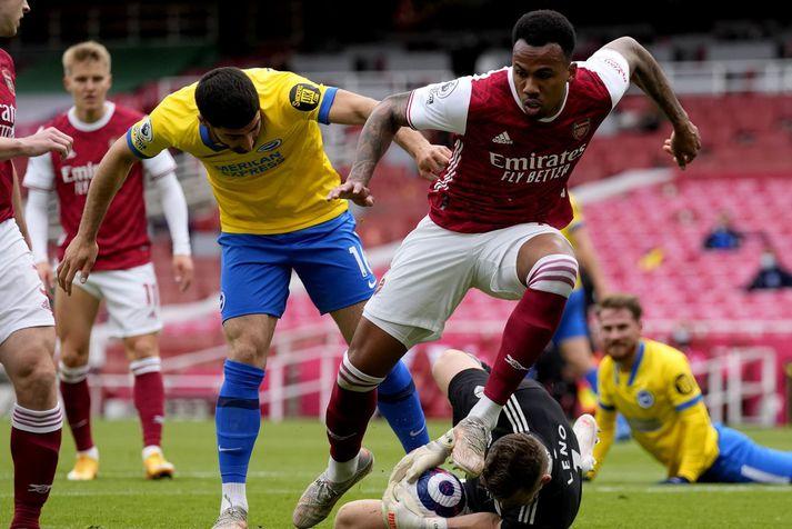 Gabriel í leik Arsenal og Brighton Hove Albion í lokaumferðinni um helgina,