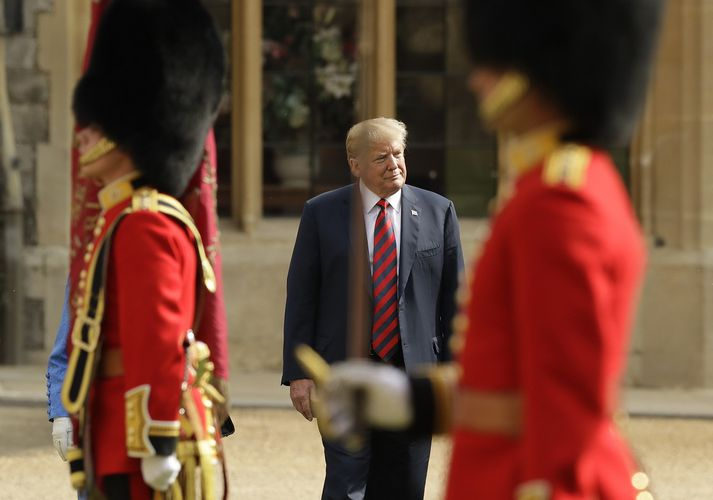 Trump í opinberri heimsókn í Bretlandi í vikunni. Hann hefur dvalið í Skotlandi síðan á föstudag og spilað þar golf.