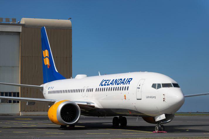 Ein af Boeing 737 MAX 8-þotum Icelandair, en kyrrsetning vélanna hefur sett strik í reikning félagsins frá því í mars.