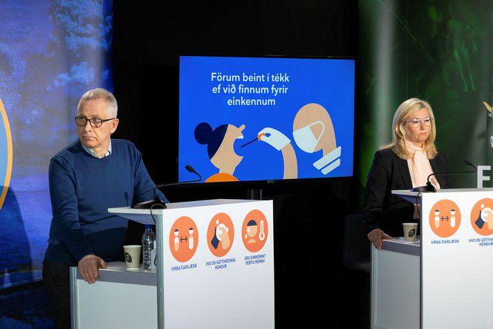 Þórólfur Guðnason sóttvarnalæknir og Alma Möller landlæknir.