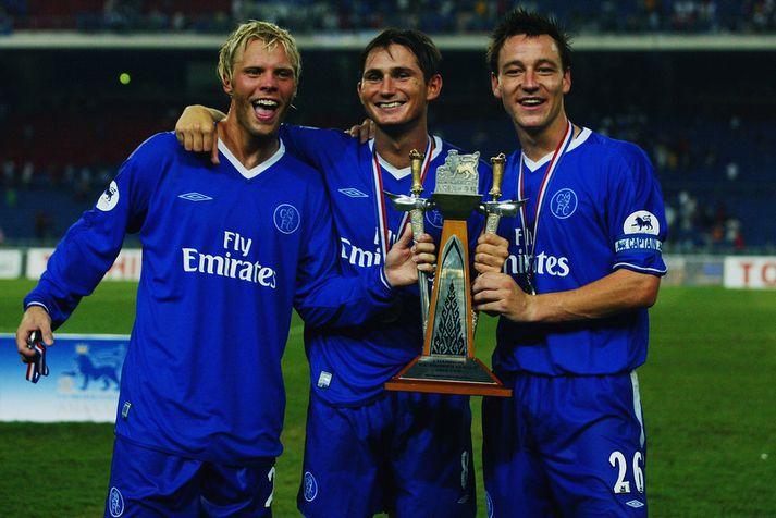 Eiður Smári Gudjohnsen með þeim Frank Lampard og John Terry.