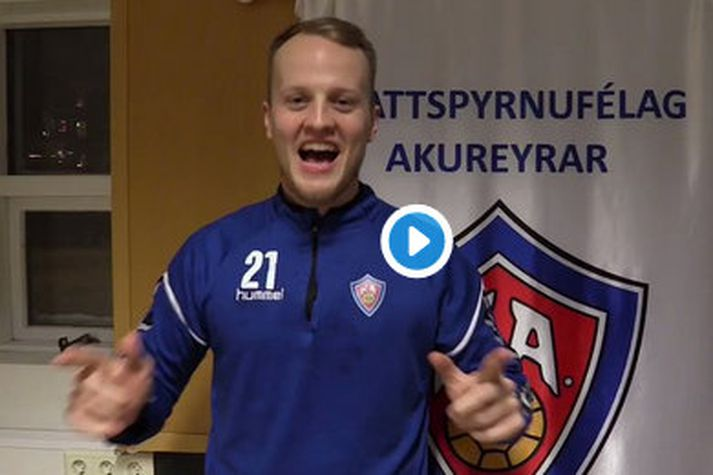 Jón Heiðar Sigurðsson skoraði tvö mörk í fyrri leik Akureyrar og KA.