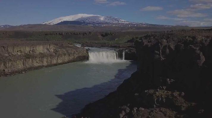 Þjófafoss í síðustu viku. Hekla í baksýn.