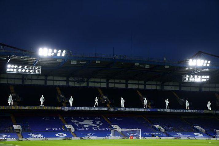 Frá Stamford Bridge í kvöld.