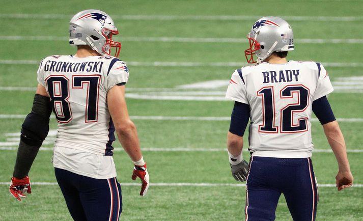 Tom Brady getur ekki lengur hent í hendurnar á Gronkowski