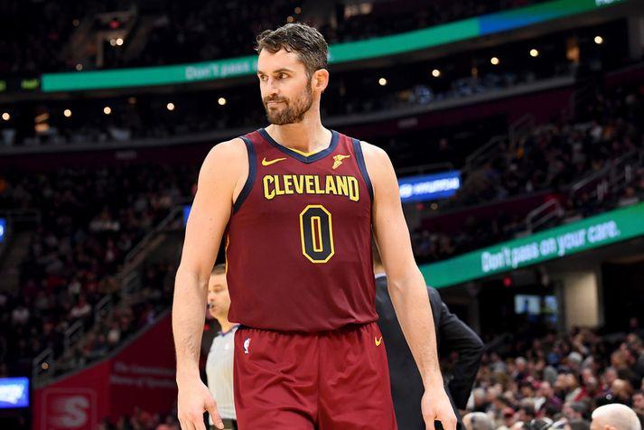 Kevin Love í leik með Cleveland Cavaliers en samningur hans rennur ekki út fyrr en sumarið 2022.