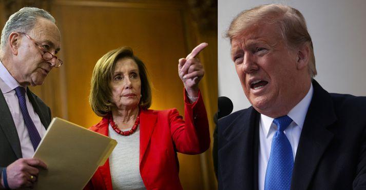 Nancy Pelosi, Chuck Schumer og félagar úr Demókrataflokknum hyggjast standa í vegi fyrir Trump
