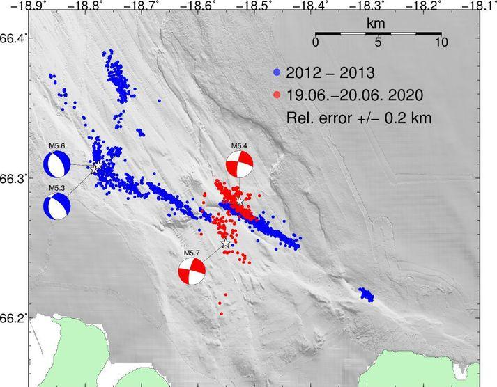 Samanburður á skjálftahrinunni síðustu tveggja sólarhringa og hrinunum 2012 og 2013.