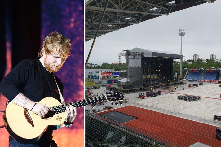 Sheeran stígur á sviðið á Laugardalsvelli þann 10. ágúst 2019.