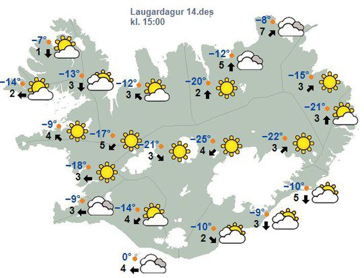Allt að 25°C frosti er spáð á laugardag.