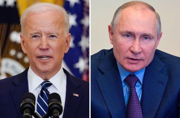 Joe Biden og Vladímír Pútín, forsetar Bandaríkjanna og Rússlands.