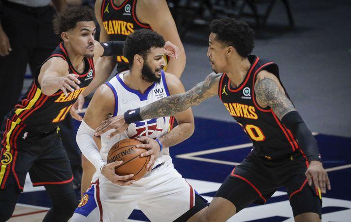 Jamal Murray og félagar í Denver Nuggets lögðu Atlanta Hawks að velli.