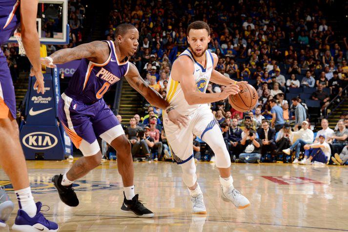 Curry í eldlínunni í nótt. Hann skoraði 23 stig.