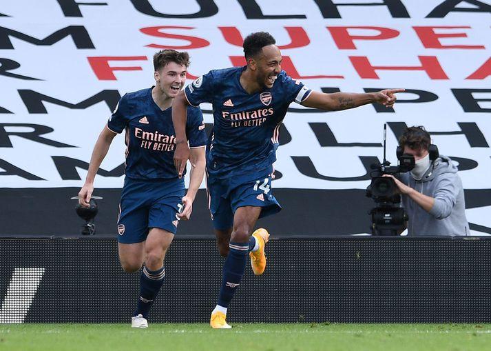 Pierre-Emerick Aubameyang fagnar marki sínu fyrir Arsenal gegn Fulham um helgina.