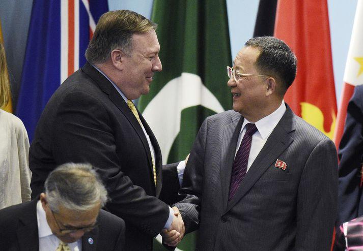 Mike Pompeo og Ri Yong-Ho í Singapúr.