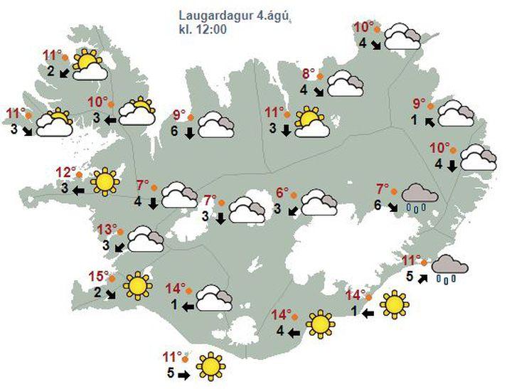 Svona lítur veðurspáin út fyrir landið klukkan tólf á morgun.