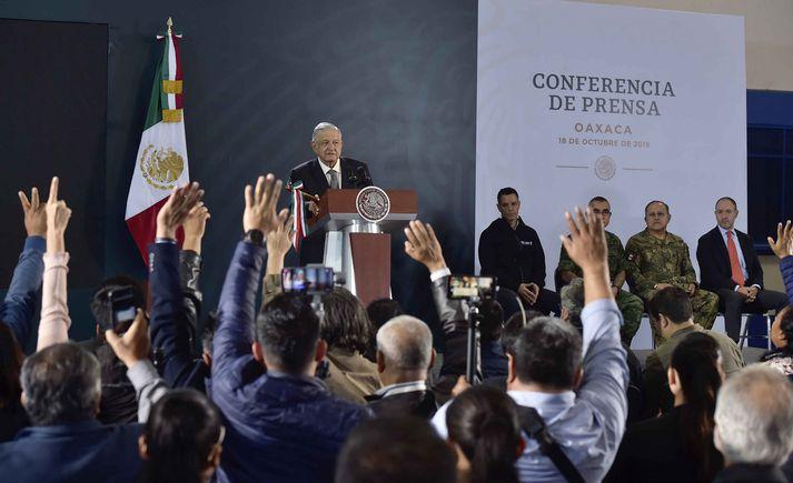 Andres Manuel López Obrador, forseti Mexíkó, á blaðamannafundi.