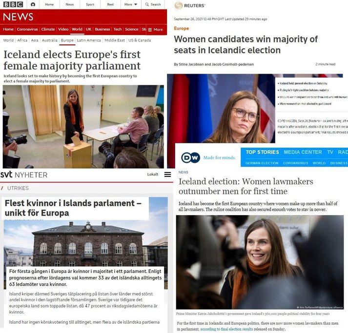 BBC News, Reuters, SVT í Svíþjóð og Deutche Welle í Þýskalandi eru meðal þeirra sem slá því upp að Íslendingar séu fyrst Evrópuþjóða með meirihluta kvenna á þingi.