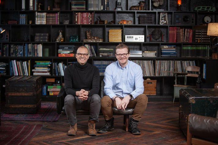 Tryggvi Björn Davíðsson (vinstri) og Haukur Skúlason (hægri) eru stofnendur Indó banka.