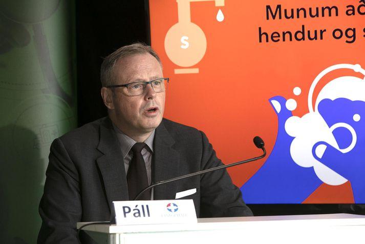 Páll Matthíasson, forstjóri Landspítala, á upplýsingafundi almannavarna í dag.